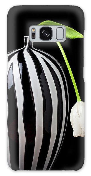 White Tulip In Striped Vase Galaxy Case