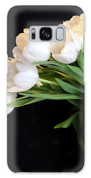 White Tulips In Blue Vase Galaxy Case