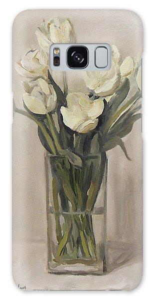 White Tulips In Rectangular Glass Vase Galaxy Case