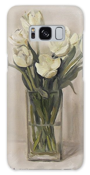 White Tulips In Rectangular Glass Vase Galaxy Case