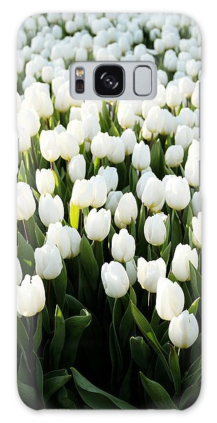 Tulip Galaxy Case - White Tulips In The Garden by Linda Woods
