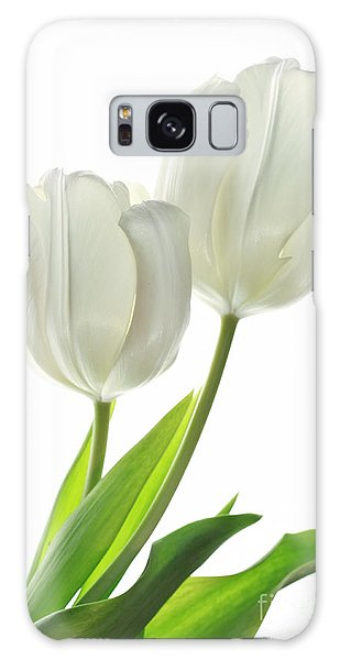 White Tulips With Leaf Galaxy Case by Charline Xia