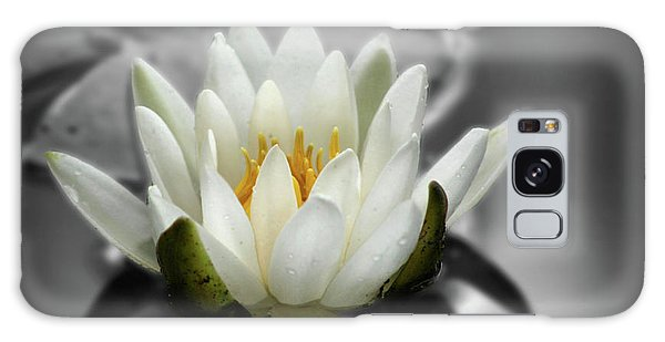 White Water Lily Black And White Galaxy Case