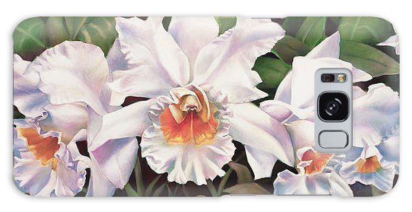 White Wedding Orchid Galaxy Case by Nancy Tilles