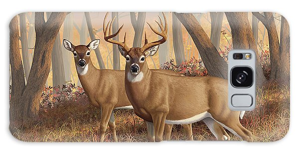 White-tailed Deer Galaxy Case - Whitetail Deer Painting - Fall Flame by Crista Forest