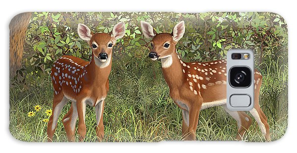White-tailed Deer Galaxy Case - Whitetail Deer Twin Fawns by Crista Forest