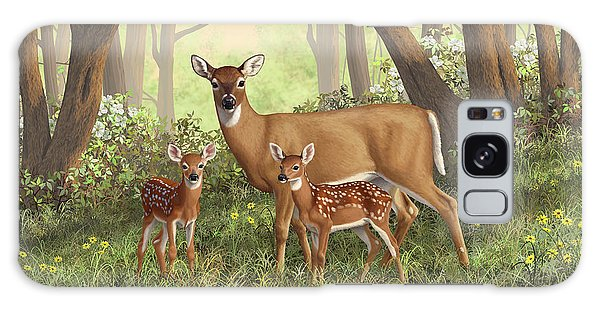 White-tailed Deer Galaxy Case - Whitetail Doe And Fawns - Mom's Little Spring Blossoms by Crista Forest