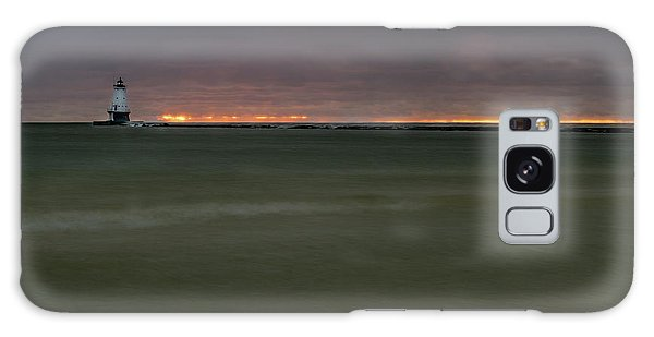 Wide View Of Lighthouse And Sunset Galaxy Case