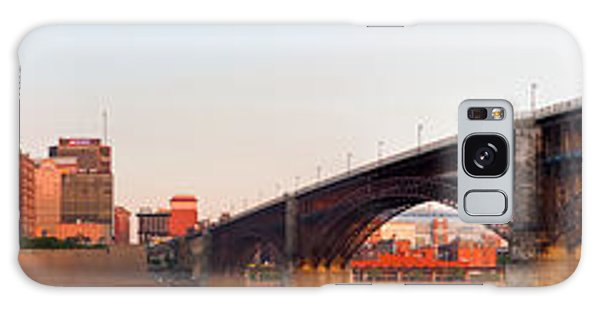 Wide View Of St Louis And Eads Bridge Galaxy Case by Semmick Photo