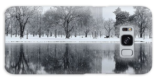 Snowy Reflections Of Trees In Lake At City Park, Denver Co  Galaxy Case