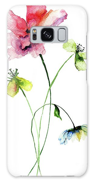 Wild Flowers Watercolor Illustration Galaxy Case