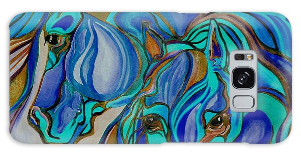 Wild  Horses In Brown And Teal Galaxy Case