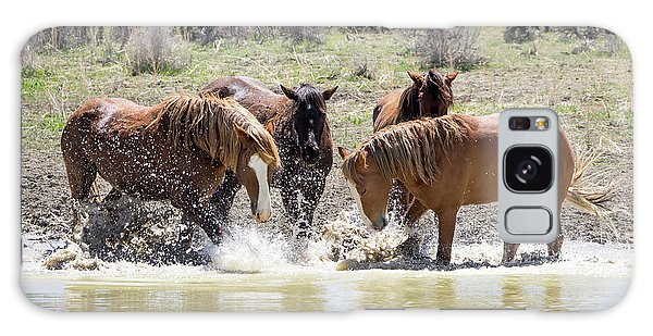 Wild Mustang Stallions Playing In The Water - Sand Wash Basin Galaxy Case