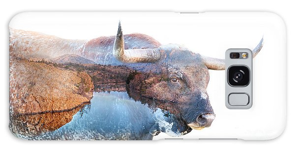 Wild Longhorn Bull And Lake Double Exposure Galaxy Case