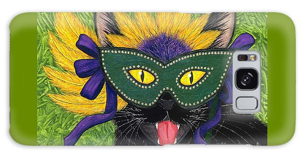 Wild Mardi Gras Cat Galaxy Case by Carrie Hawks