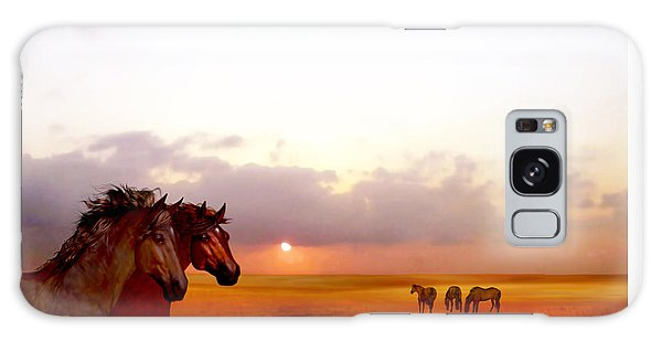 Galaxy Case featuring the painting Wild Moorland Ponies by Valerie Anne Kelly