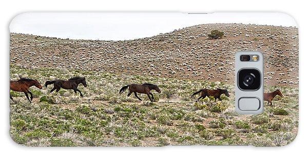 Wild Mustang Herd Running Galaxy Case