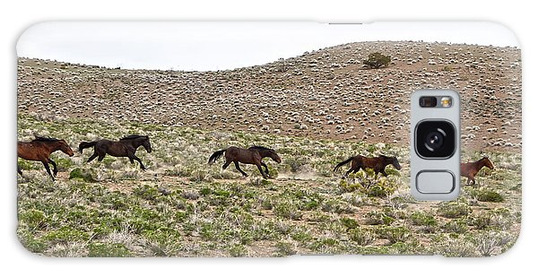 Wild Mustang Herd Running Galaxy Case