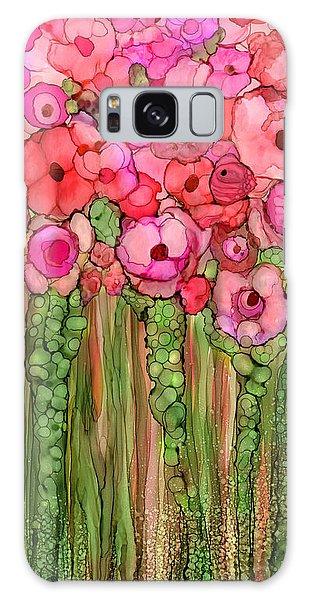 Galaxy Case featuring the mixed media Wild Poppy Garden - Pink by Carol Cavalaris