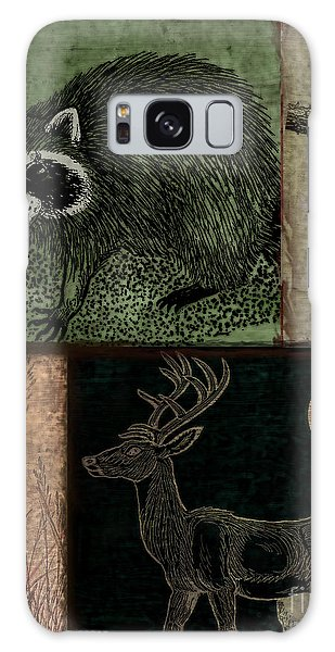 White-tailed Deer Galaxy Case - Wild Racoon And Deer Patchwork by Mindy Sommers