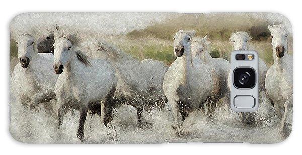 Wild White Horses Of The Camargue I Galaxy Case