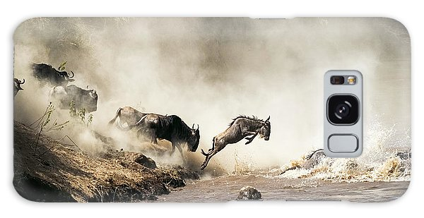 Jump Galaxy Case - Wildebeest Leaping In Mid-air Over Mara River by Susan Schmitz
