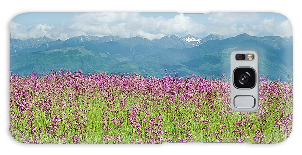 Wildflower Meadows And The Carpathian Mountains, Romania Galaxy Case