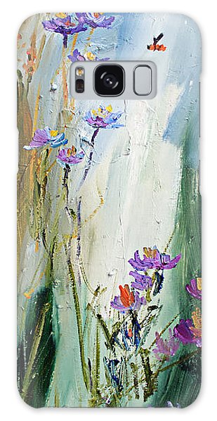 Wildflowers And Bees Oil Painting Galaxy Case