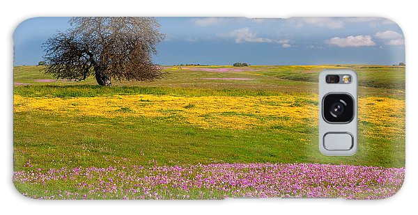 Wildflowers And Oak Tree - Spring In Central California Galaxy Case by Ram Vasudev