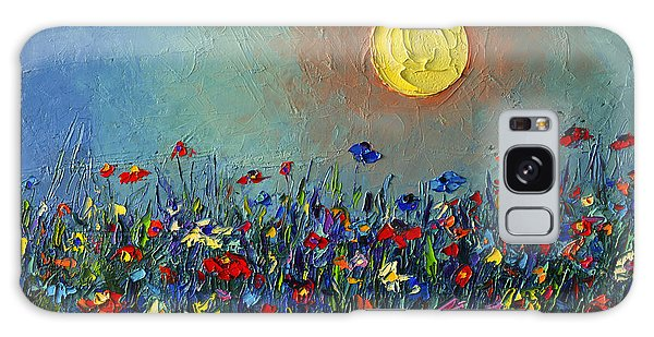Wildflowers Meadow Sunrise Modern Floral Original Palette Knife Oil Painting By Ana Maria Edulescu Galaxy Case