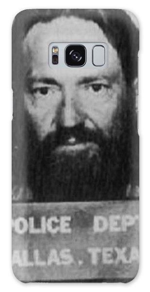 Willie Nelson Mug Shot Vertical Black And White Galaxy Case