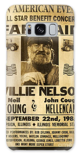 Willie Nelson Neil Young 1985 Farm Aid Poster Galaxy Case