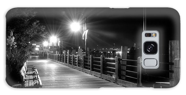 Wilmington Riverwalk At Night In Black And White Galaxy Case