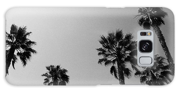 Black And White Art Galaxy Case - Wind In The Palms- By Linda Woods by Linda Woods