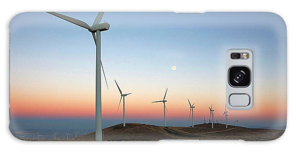 Wind Turbines At Moonrise Galaxy Case