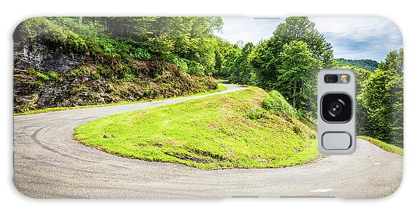 Winding Road With Sharp Curve Going Up The Mountain Galaxy Case by Semmick Photo
