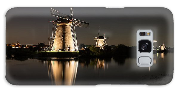 Windmills Illuminated At Night Galaxy Case by IPics Photography
