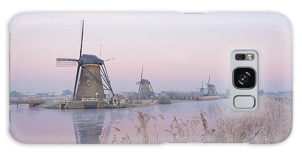 Windmills In The Netherlands In The Soft Sunrise Light In Winter Galaxy Case