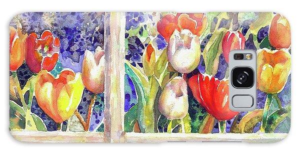 Window Box Tulips Galaxy Case