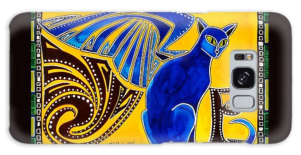 Winged Feline - Cat Art With Letter P By Dora Hathazi Mendes Galaxy Case by Dora Hathazi Mendes