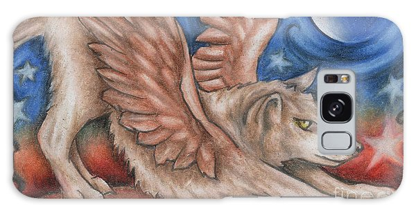 Winged Wolf In Downward Dog Yoga Pose Galaxy Case