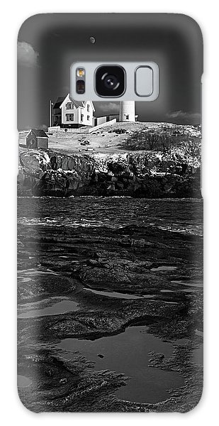 Winter At Nubble Lighthouse Bw Galaxy Case