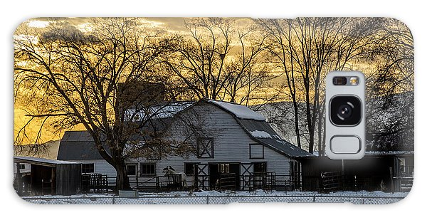 Winter Barn At Sunset - Provo - Utah Galaxy Case by Gary Whitton