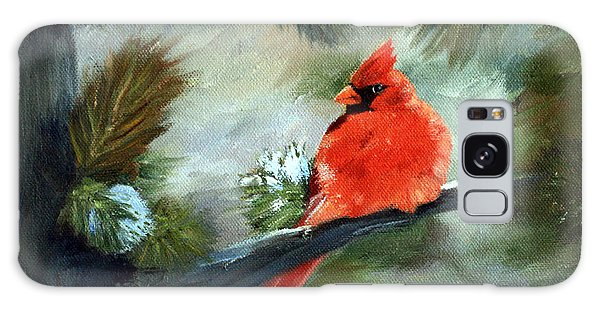 Winter Cardinal Galaxy Case by Brenda Thour