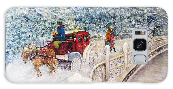 Winter Carriage In Central Park Galaxy Case