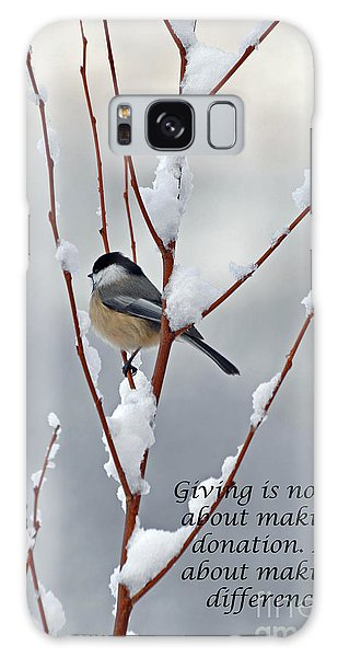 Winter Chickadee Giving Galaxy Case by Diane E Berry