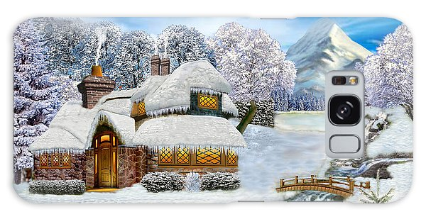 Winter Country Cottage Galaxy Case