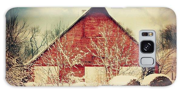 Winter Day On The Farm Galaxy Case