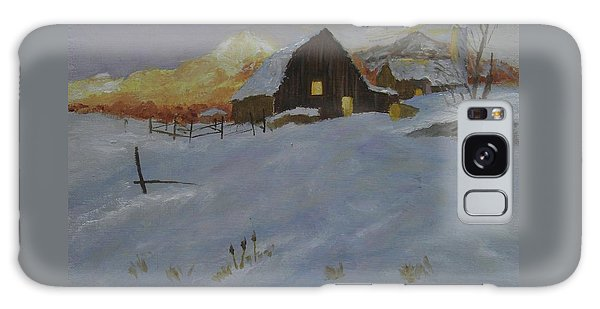 Winter Dusk On The Farm Galaxy Case