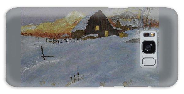 Winter Dusk On The Farm Galaxy Case